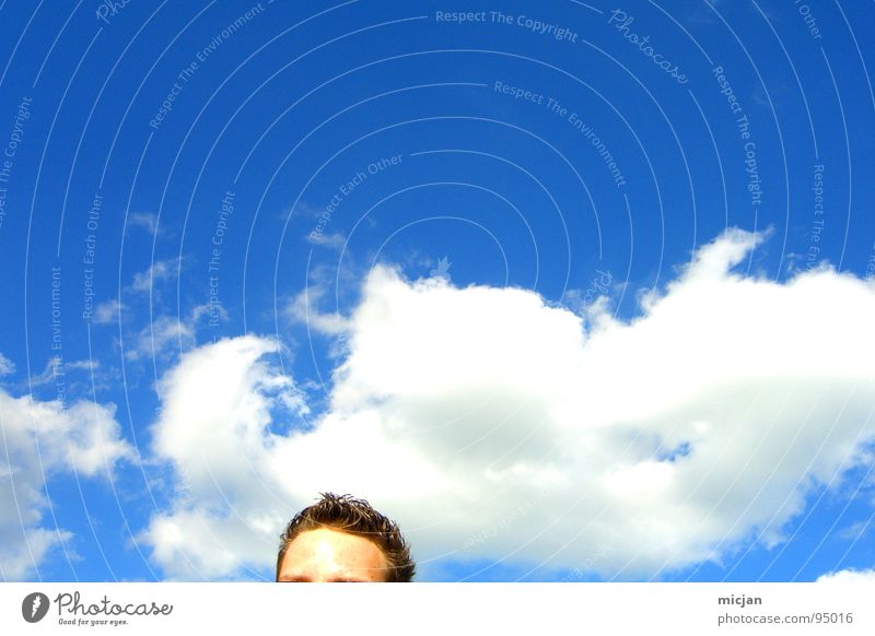 Human being Sky Man Blue White Clouds Eyes Movement Think Hair and hairstyles Freedom Brown Bright Stand Smoke