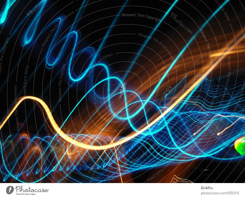 Green Blue Red Black Dark Bright Orange Waves Fresh Point Long Spiral Sewing thread Exposure Digital photography Meandering
