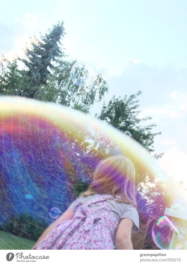 bubble race Joy Happy Leisure and hobbies Playing Summer Child Toddler Girl Family & Relations Spring Weather Dress Mirror Catch Soap bubble Blow Bubble Rainbow