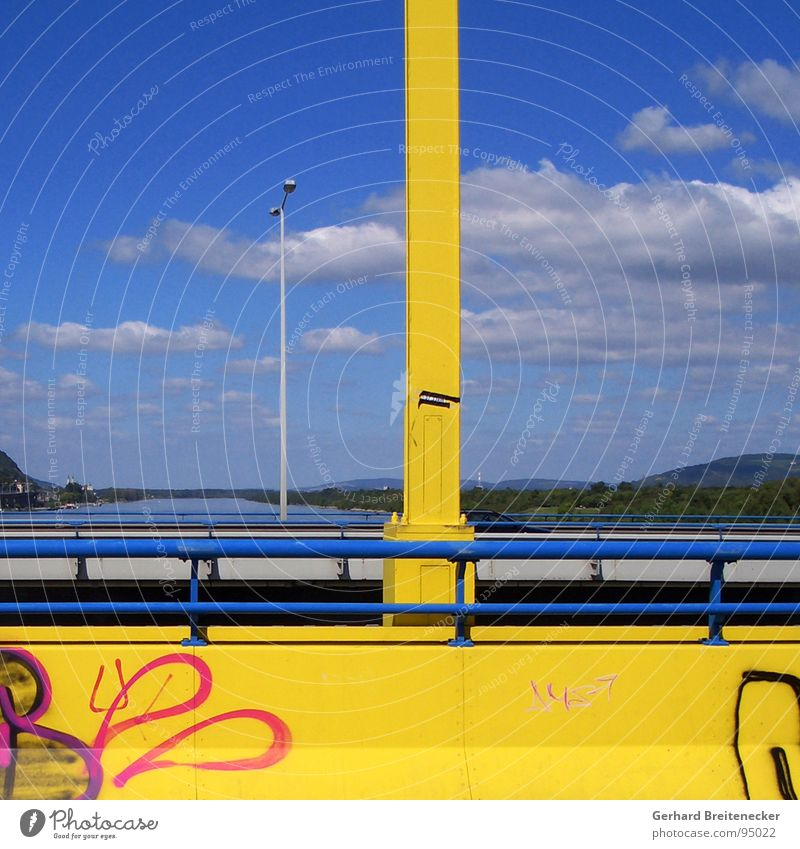 Sky Yellow Landscape Graffiti Bridge River Vantage point Danube
