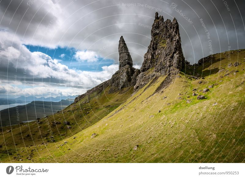 weather-sensitive. Nature Landscape Sky Clouds Storm clouds Summer Beautiful weather Bad weather Meadow Field Hill Rock Scotland Isle of Skye Old Man of Storr