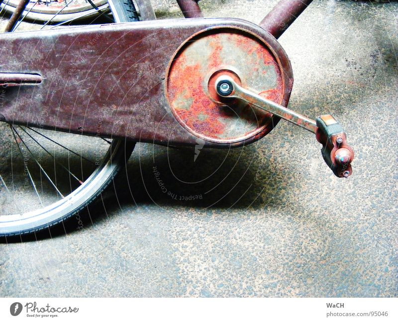 bikes Bicycle Old Rust Tread Pedal Driving Means of transport Transport Leisure and hobbies drive move oxidized