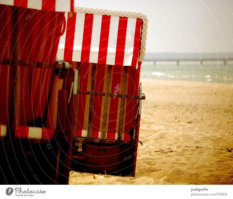 Sun Ocean Summer Beach Vacation & Travel Colour Relaxation Sand Coast Closed Stripe Footbridge Baltic Sea Beach chair Darss Reserved