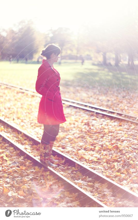 AK# On The Rail Art Esthetic Contentment Calm Idyll Woman Woman's body Autumnal Autumn leaves Autumnal colours Early fall Autumnal weather Automn wood
