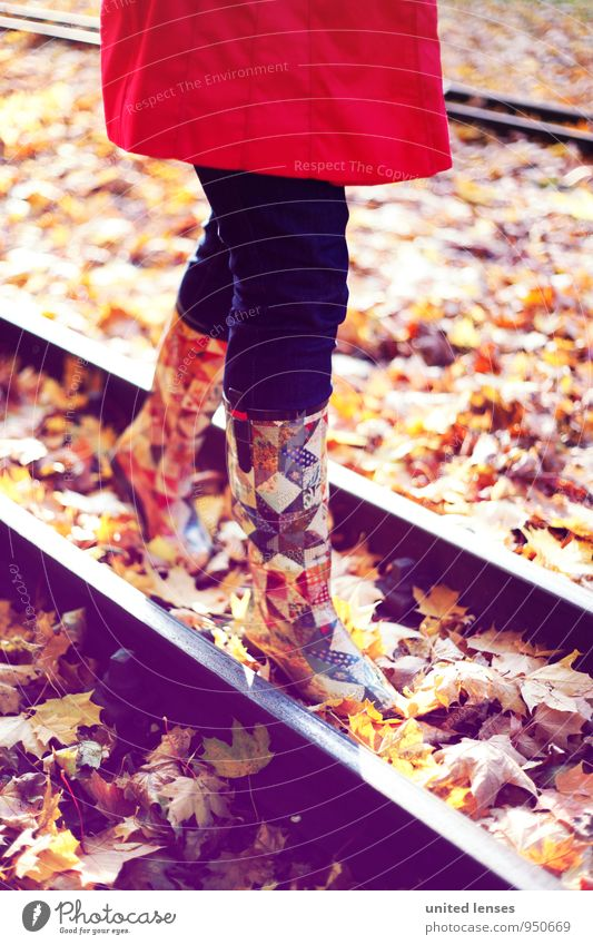 AK# Railwalk Art Esthetic Contentment Boots Fashion Pants Coat Red Railroad tracks To go for a walk Walking Stride Autumnal Autumn leaves Autumnal colours