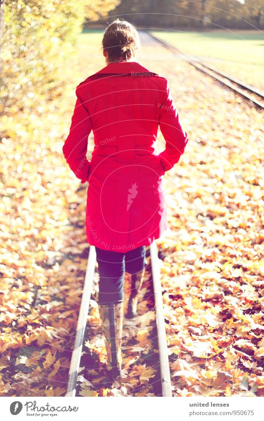 Woman Red Leaf Autumn Style Art Fashion Park Contentment Walking Esthetic To go for a walk Railroad tracks Autumn leaves Autumnal Coat