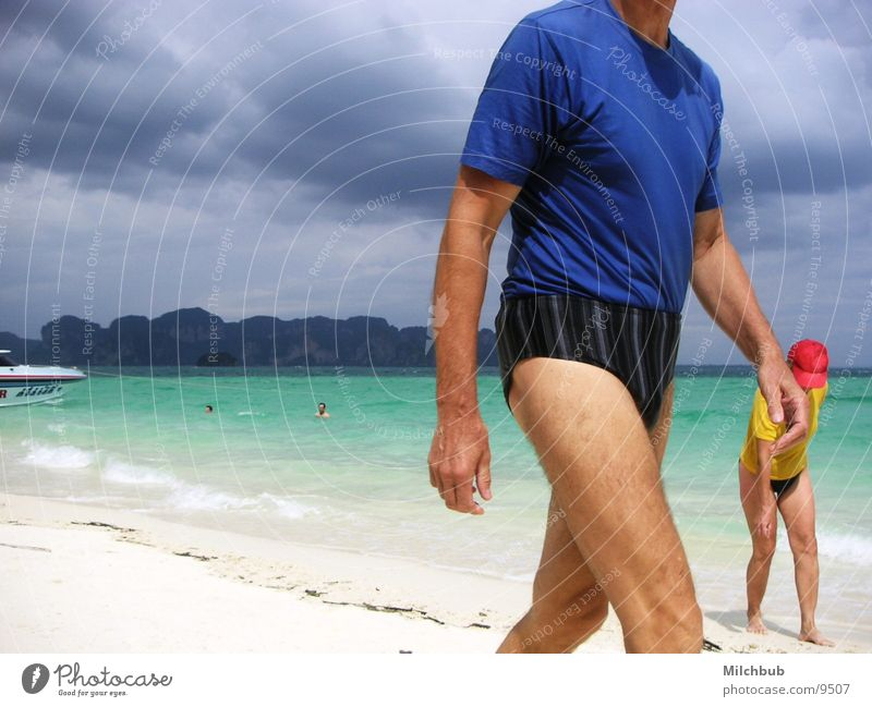 Ocean Blue Beach Vacation & Travel Clouds Yellow Walking Turquoise Thunder and lightning Thailand Swimming trunks Old-school Los Angeles Krabi