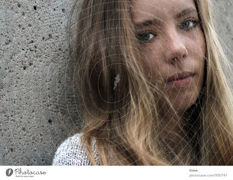 . Feminine Young woman Youth (Young adults) 1 Human being Wall (barrier) Wall (building) Sweater Blonde Long-haired Observe Looking Dream Wait Beautiful Trust