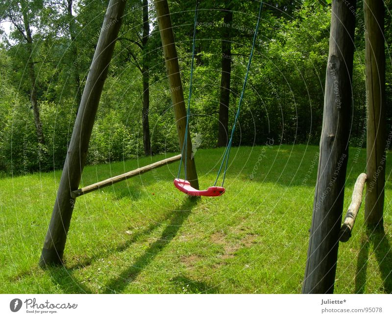 Green Red Summer Loneliness Meadow Playing Jump Speed Swing