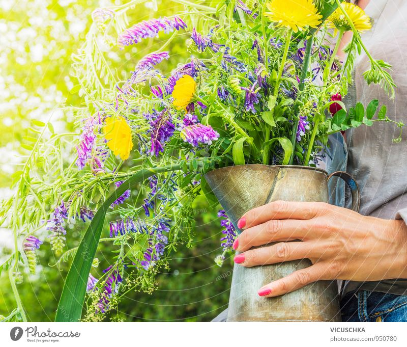 Wild summer flowers in the old jug in your hand Lifestyle Leisure and hobbies Summer Garden Decoration Human being Woman Adults Hand Nature Plant Sunlight