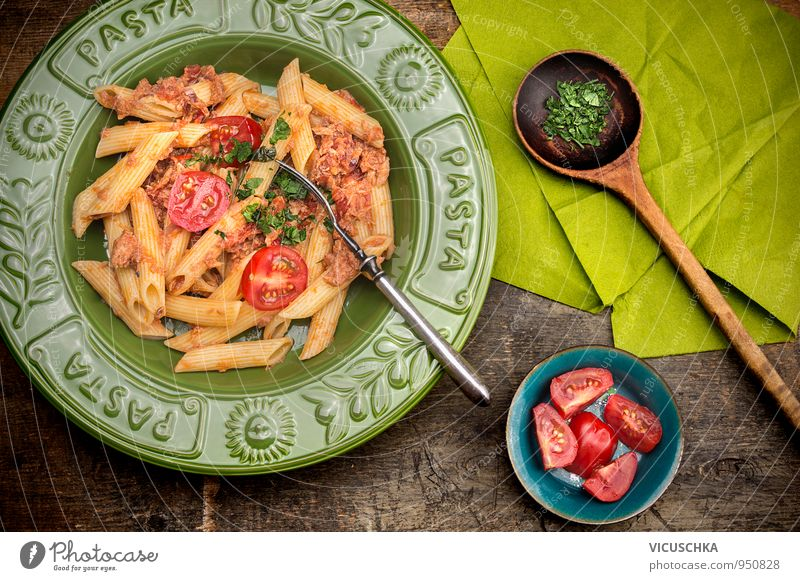 Penne pasta with tuna sauce and tomatoes. Food Vegetable Lunch Banquet Organic produce Vegetarian diet Diet Italian Food Plate Bowl Fork Spoon Design