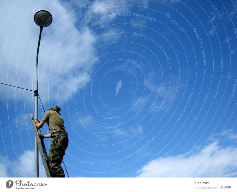 Human being Man Sky Blue Clouds Lamp Cable Lantern Ladder Build Soldier Wire Go up Spark Uniform