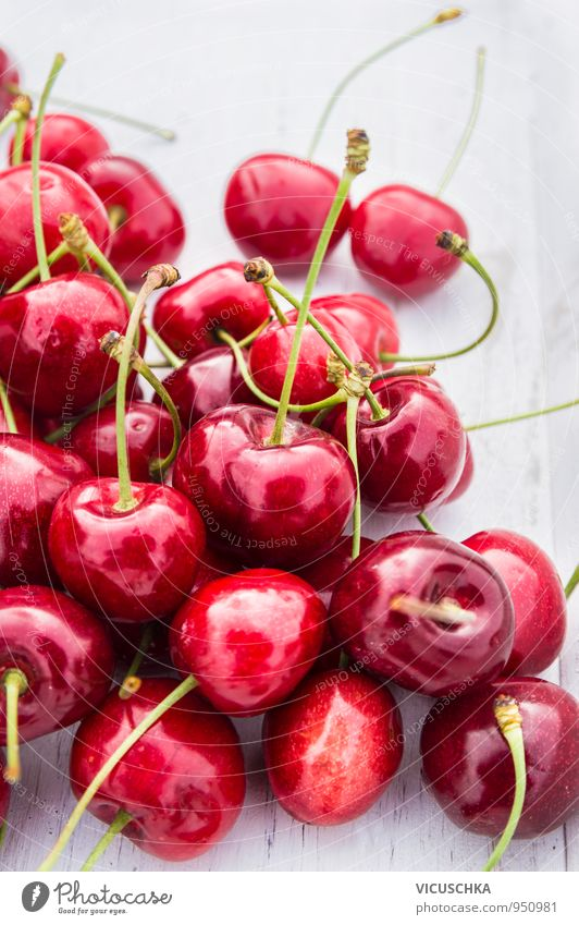 Sweet cherries on white wooden table Food Fruit Dessert Organic produce Vegetarian diet Diet Lifestyle Healthy Eating Leisure and hobbies Summer Garden Nature