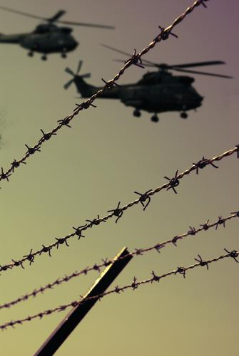 move for G8 G8 Summit Heiligendamm Terror War Helicopter Fence Barbed wire Twilight Dangerous Argument Federal police Fear Panic Aviation Attac Technical lock