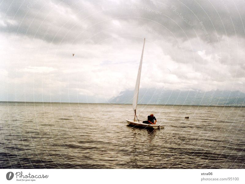 Man Water Sky Calm Clouds Loneliness Lake Watercraft Waves Horizon France Sail Body of water Swell Annecy