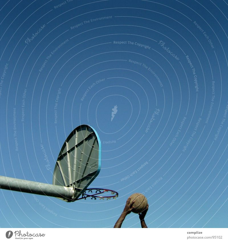 basket ball Basketball basket Hand Places School sport Strike Man Sports Accuracy Playing Sporting event Competition Ball Blue Blue sky court Success Athletic