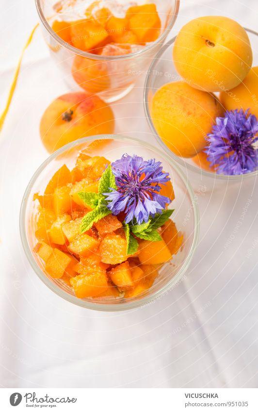 Apricot dessert with sugar, decorated with blue cornflowers Food Fruit Dessert Nutrition Breakfast Buffet Brunch Banquet Organic produce Vegetarian diet Diet