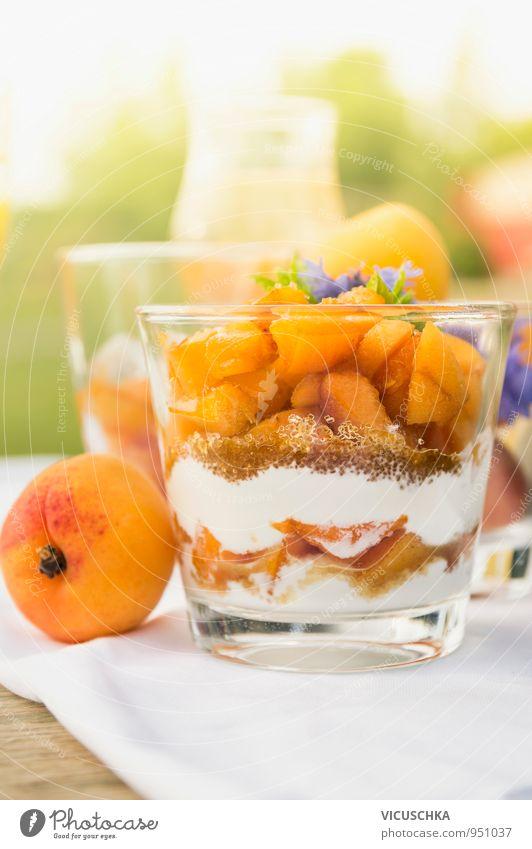 Apricot dessert with yoghurt and brown sugar Food Yoghurt Fruit Dessert Candy Nutrition Breakfast Buffet Brunch Organic produce Vegetarian diet Diet Glass