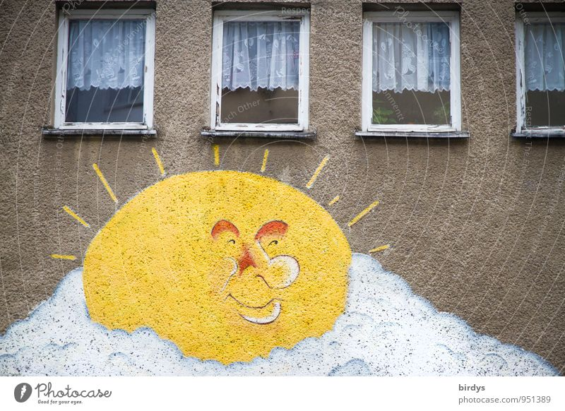 cheerful to cloudy Living or residing House (Residential Structure) Old building Facade Window Graffiti Sun Clouds Smiling Illuminate Friendliness Funny