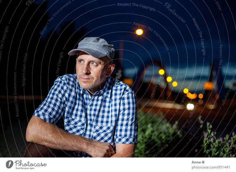 Human being Man Blue Calm Adults Yellow Masculine Authentic 45 - 60 years Wait Observe Bridge Adventure Planning Curiosity Cap