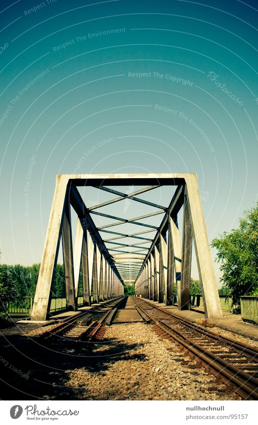 rhine bridge Railroad tracks Steel Railway bridge Bridge Sky Blue Beautiful weather Metal Stone Rhine River