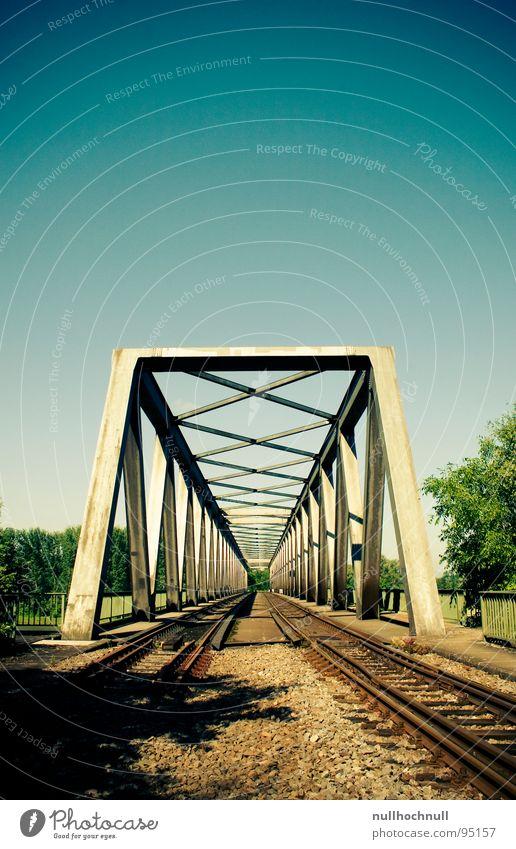 Sky Blue Stone Metal Railroad Bridge River Railroad tracks Steel Beautiful weather Rhine Railway bridge