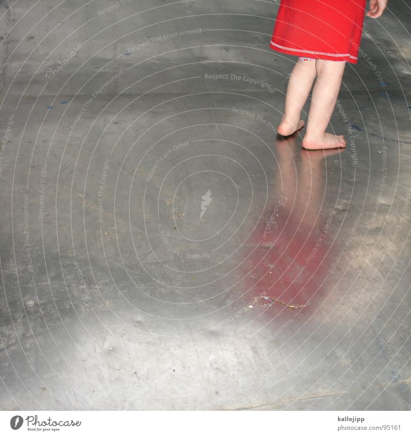 sheet metal Barefoot Child Tin Playing Summer Playground Red Dress Perspire Halfpipe Reflection Girl Toddler Childhood memory Childhood dream Aluminium Steel