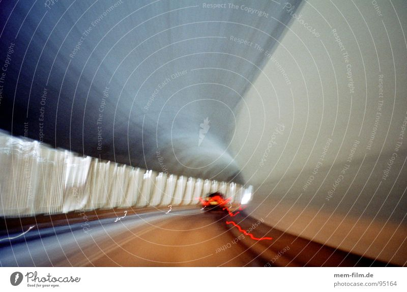 through the mountain 2 Tunnel Windscreen Dark Driving Time Fluorescent Lights Traffic lane Stripe Gray Speed Transport Reflection Tracks Carriage Road traffic
