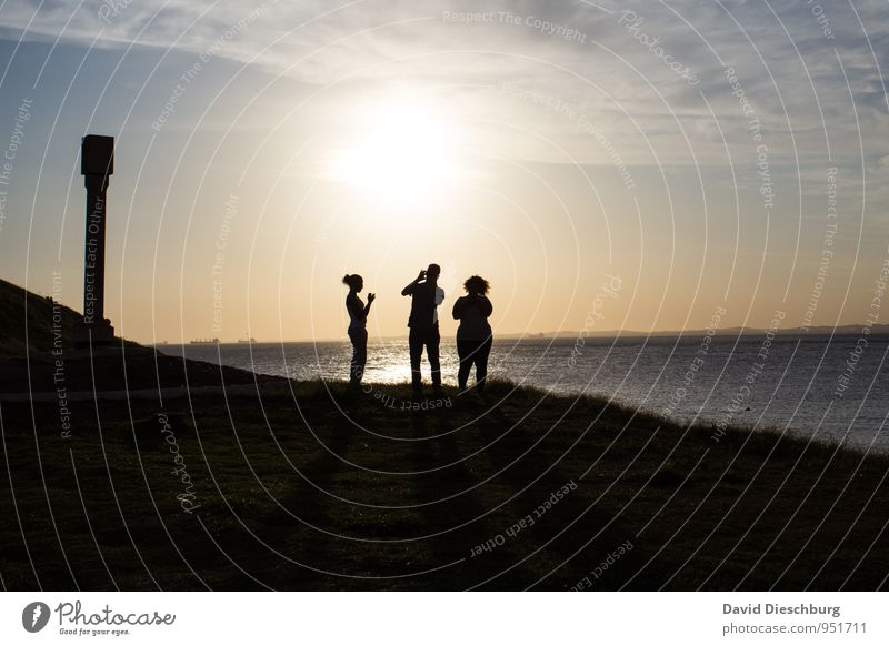 Trio on net search Human being Life Body 3 Landscape Sky Clouds Summer Beautiful weather Coast Ocean Blue Yellow Black White Advancement Society Trade Mobility