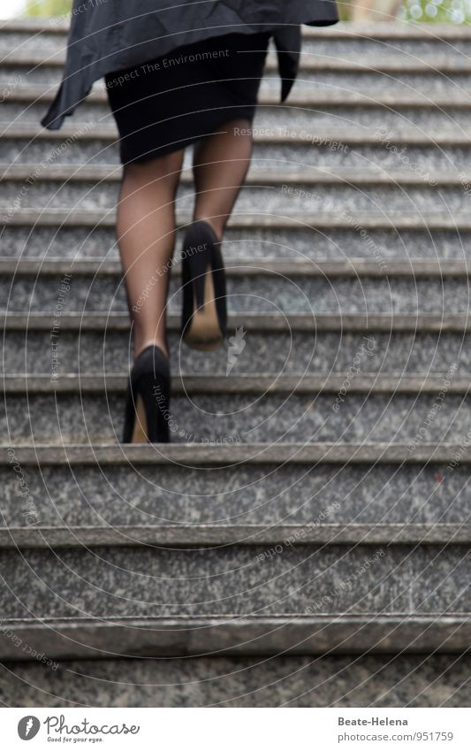 It's going up Lifestyle Woman Adults Town Stairs Lanes & trails Skirt Jacket Stockings Cloth Leather Footwear High heels Movement Going Esthetic Gray Black
