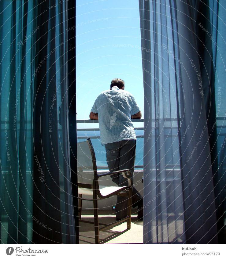 Human being Man Sun Ocean Joy Beach Vacation & Travel Freedom Flat (apartment) Wind Free USA Chair Luxury Interest Curtain