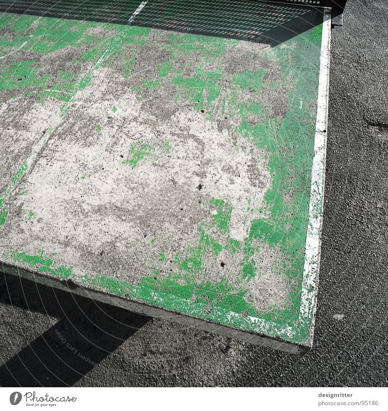 Well used Table tennis Table tennis table Green Second-hand Old Require Utilize Schoolyard Street Useful playground youth sports need needful Youth culture