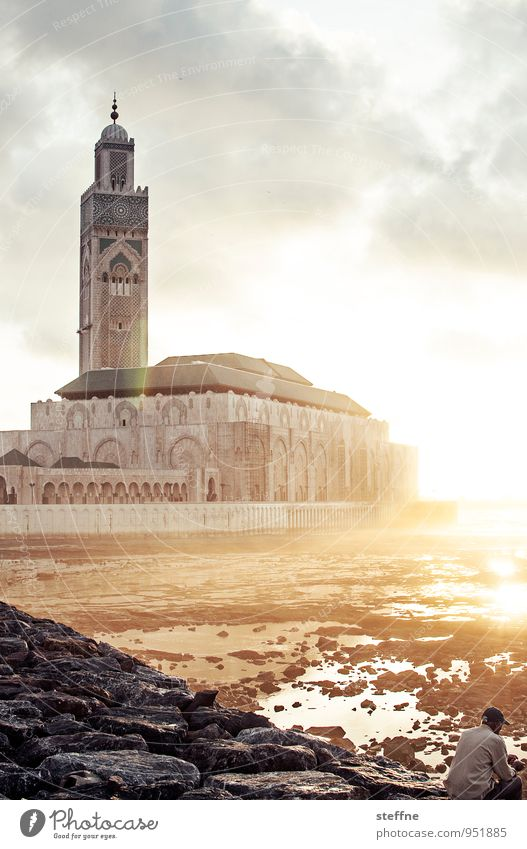 Around the World: Casablanca Religion and faith Islam Morocco Mosque Sunset Spirituality Copy Space top