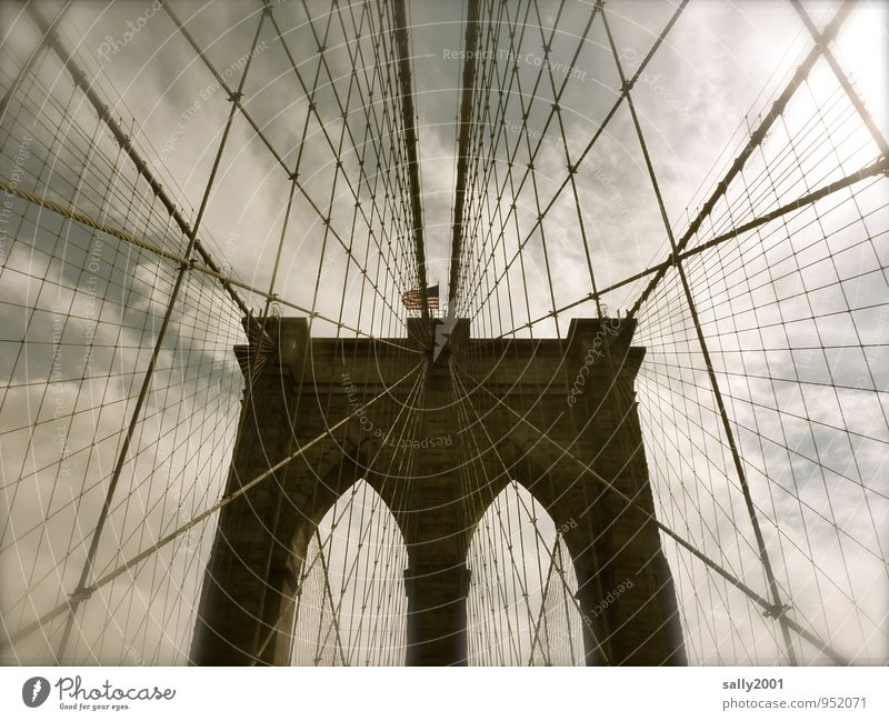 Old Dark Exceptional Power Tourism Esthetic Rope Bridge Logistics Safety To hold on USA Manmade structures Flag Trust Steel cable