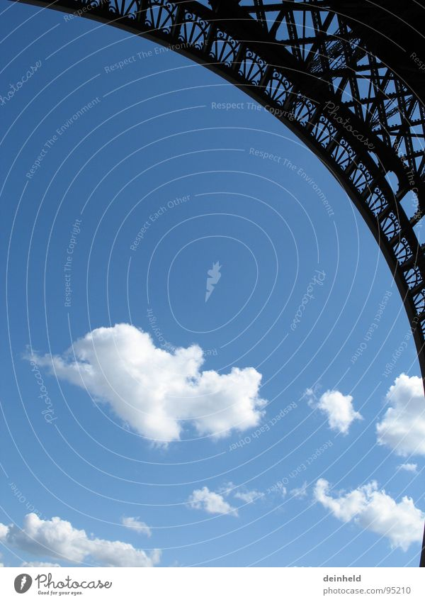 Clouds + ) Eiffel Tower Round Manmade structures Landmark Paris Worm's-eye view Perfect Robust Detail Modern Exhibition Trade fair Arch Scaffold Blue Sky Circle