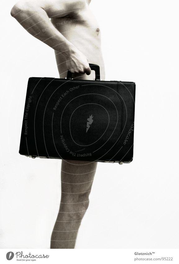 Human being Man Hand Legs Skin Arm Fingers Stand Leather Bag Shoulder Suitcase Door handle Knee Limbs