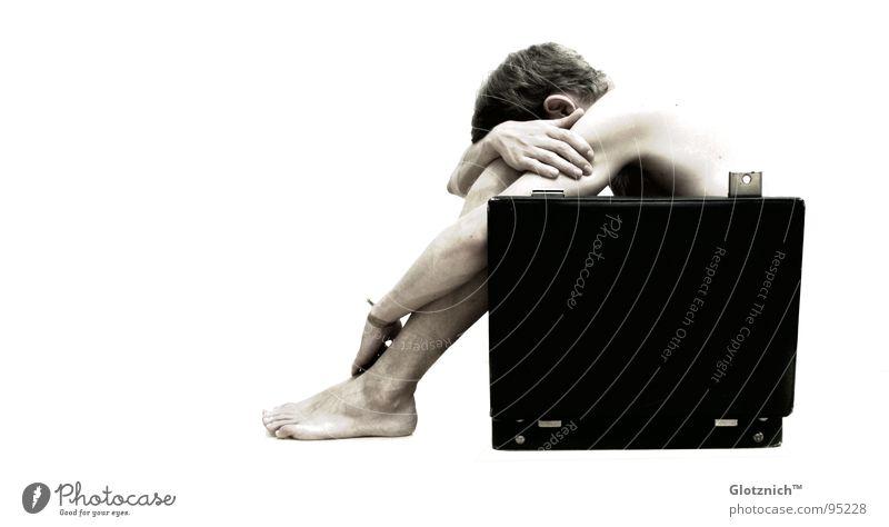 Human being Man Hand Head Legs Business Skin Arm Fingers Sit Leather Bag Shoulder Suitcase Door handle Knee