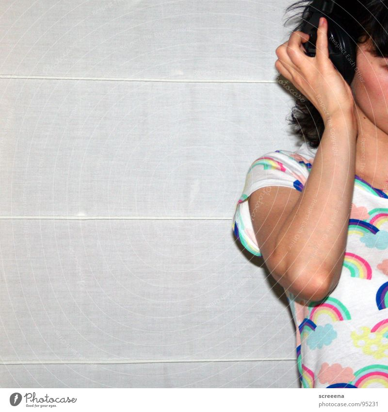 And More Woman Hand Shoulder Listening Headphones Rainbow T-shirt White Multicoloured Joy Music Hair and hairstyles yeah
