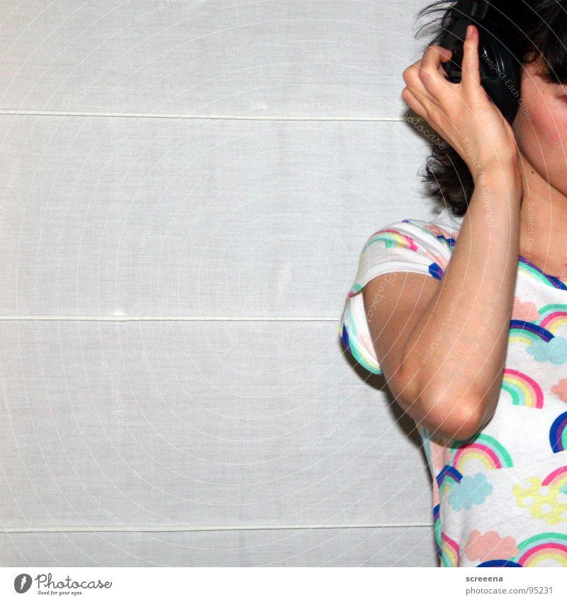 Woman Hand White Joy Music Hair and hairstyles T-shirt Listening Shoulder Headphones Rainbow