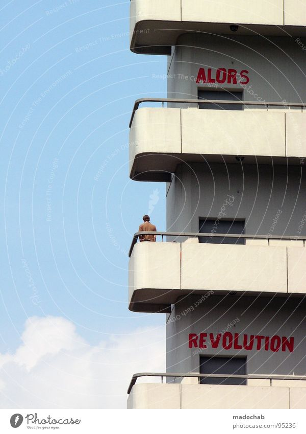 ALORS REVOLUTION Sky Guard Guard service Sightseeing Stand Loneliness Break Summer Man Fellow Human being University & College student Balcony Concrete