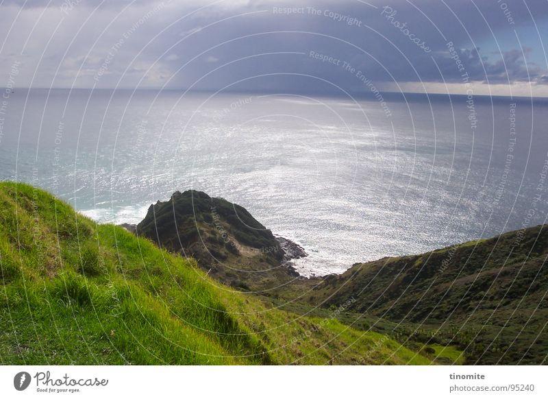Water Ocean Calm Clouds Landscape Horizon Rock Vantage point Australia Slope Cliff New Zealand