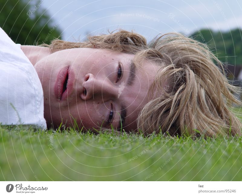 Look at me Man Blonde Portrait photograph Longing Future Thought Philosophy Think Lips Eyelash Eyebrow White Shadow Landscape format Relaxation Break Grass