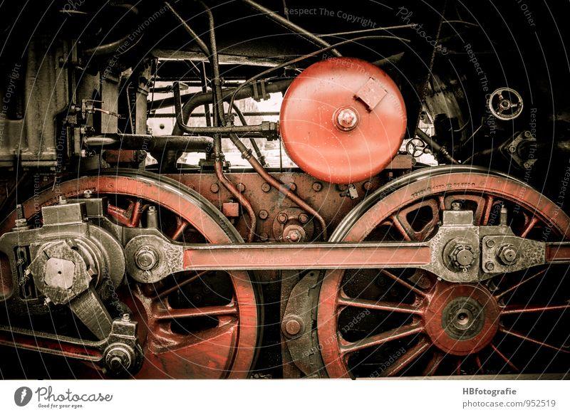 gear train Machinery Means of transport Train travel Vehicle Rail transport Railroad Engines Steamlocomotive Platform Red Energy Power Logistics Past