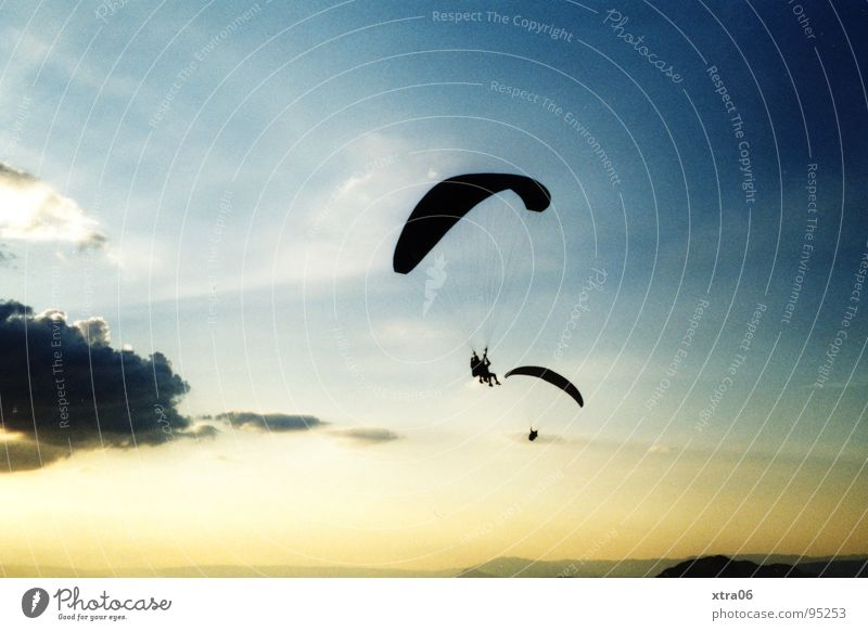 Human being Sky Blue Clouds Above Freedom Together Parachute Flying Tall Aviation France Paragliding Flying sports Paraglider
