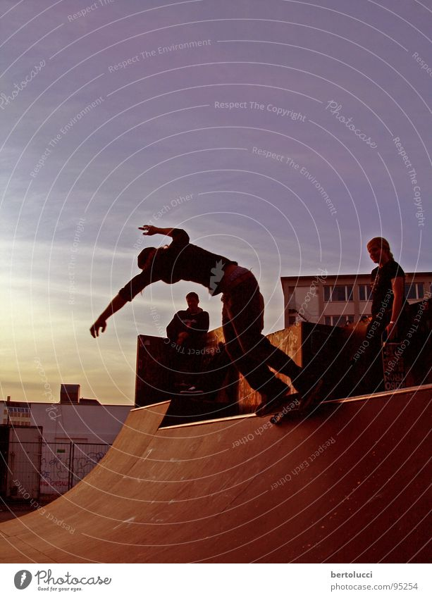 nightskate Skateboarding Halfpipe Ramp Action Twilight Lifestyle Red Calm Relaxation Sports Playing Youth (Young adults) Funsport miniramp curb scurf sunset