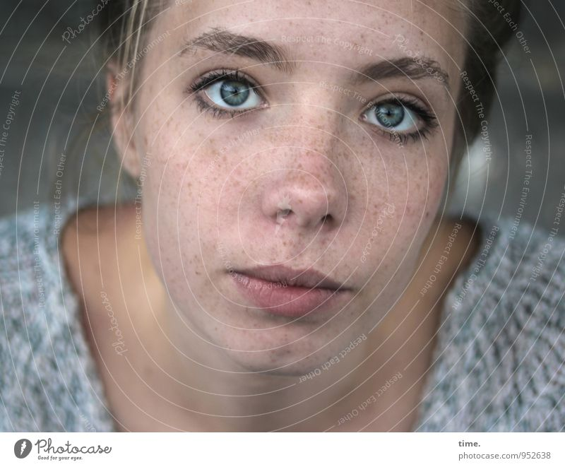 . Beautiful Face Feminine Young woman Youth (Young adults) 1 Human being T-shirt Blonde Braids Observe Looking Wait Willpower Trust Watchfulness Caution Patient