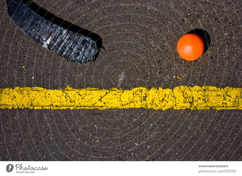 Black Yellow Sports Line Orange Ball Asphalt Toys Inline skating Individual Section of image Hockey stick Ground markings Playing field parameters Inline Hockey