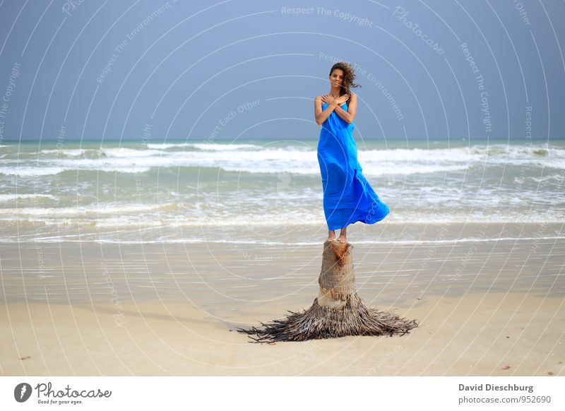 Human being Vacation & Travel Youth (Young adults) Blue Beautiful White Water Summer Tree Young woman Relaxation Ocean Landscape 18 - 30 years Adults Coast