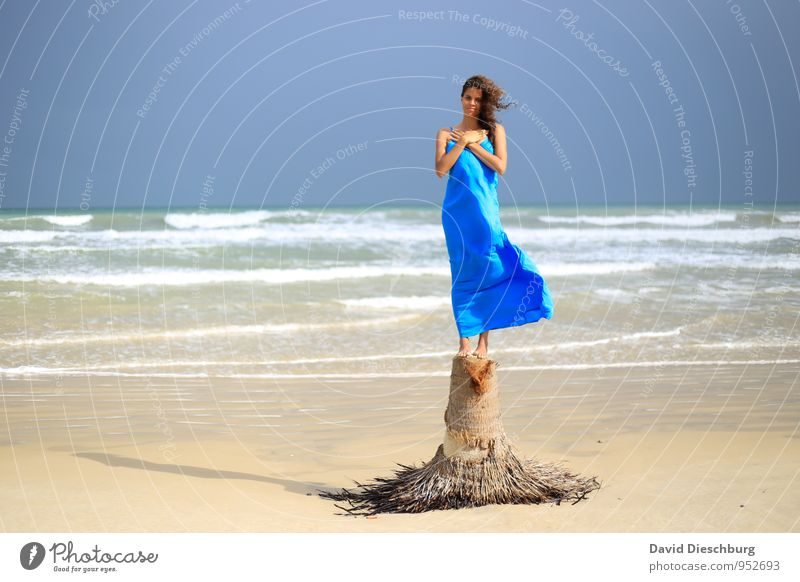 Human being Sky Nature Youth (Young adults) Blue White Water Summer Young woman Relaxation Ocean Calm Beach Yellow Coast Feminine