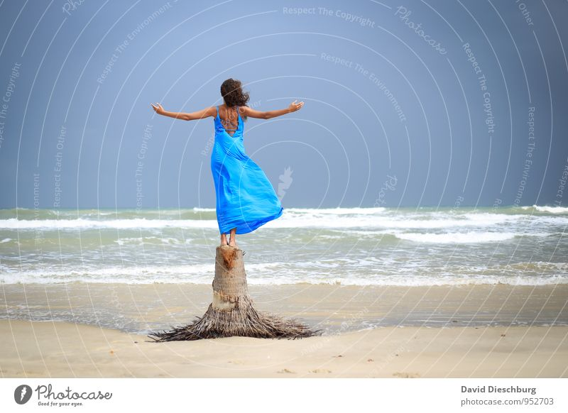 Human being Sky Nature Vacation & Travel Youth (Young adults) Blue Beautiful White Water Summer Tree Young woman Ocean Calm Far-off places Autumn